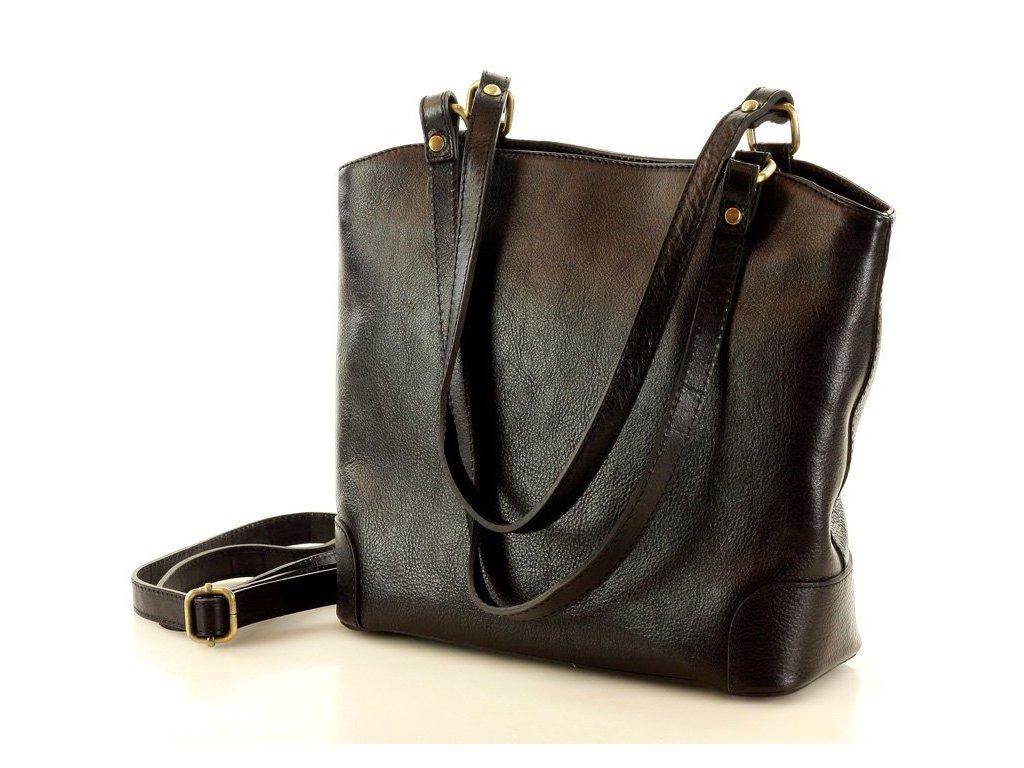 Kožená nákupní taška MAZZINI na rameno; černá