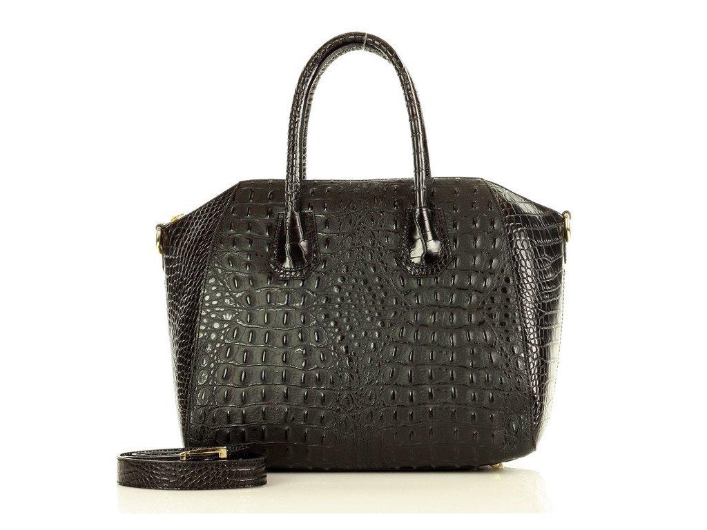 MARCO MAZZINI Elegantní kožená kabelka krokodýl; černá