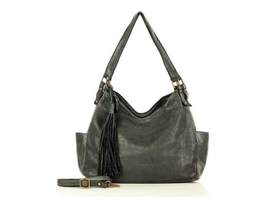 Kožená kabelka shopper MARCO MAZZINI CLASSICO; tmavě šedá