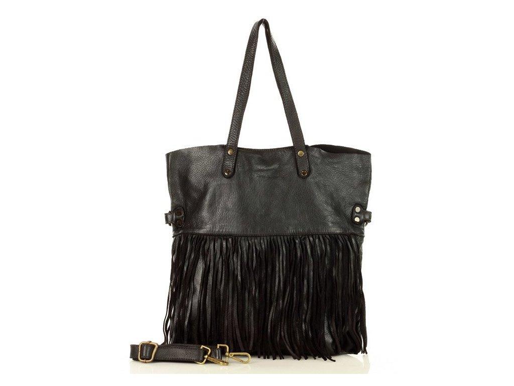 Italská MARCO MAZZINI shopper kabelka s třásněmi v boho stylu z pravé kůže, ručně šitá; černá