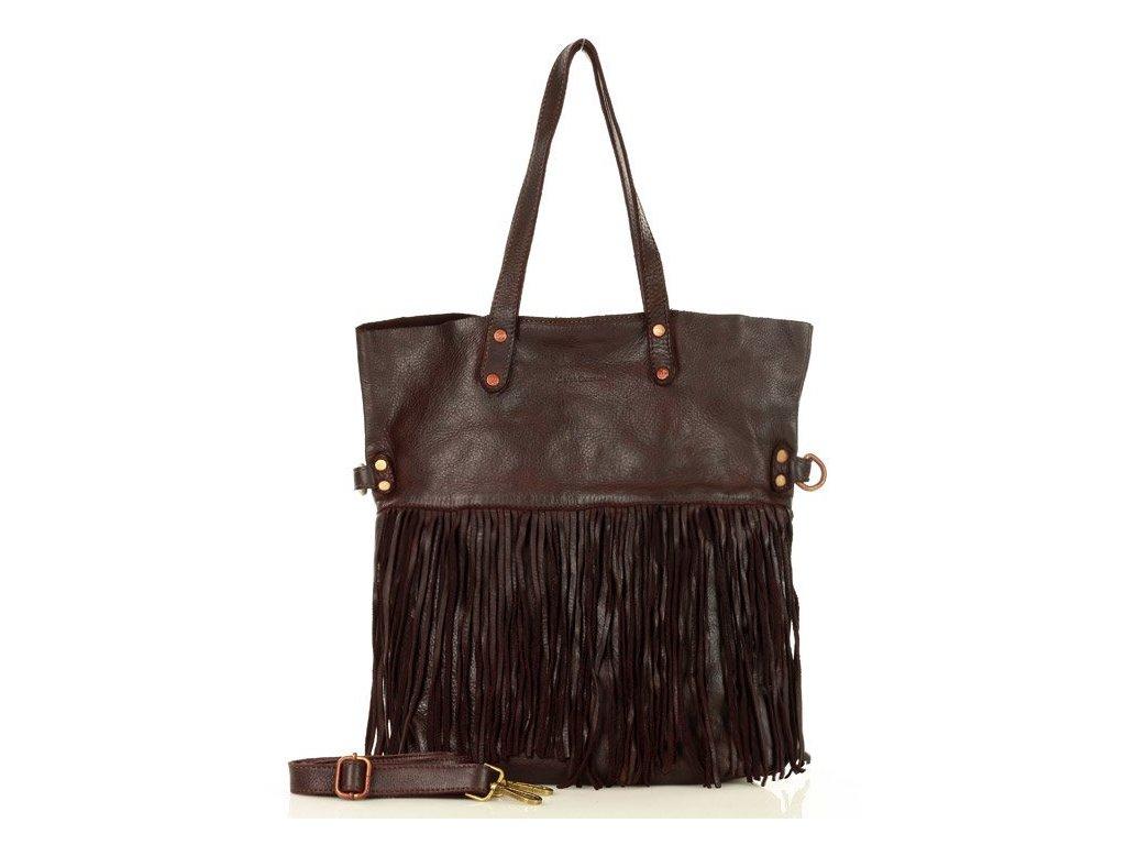Italská MARCO MAZZINI shopper kabelka s třásněmi v boho stylu z pravé kůže, ručně šitá; hnědá káva