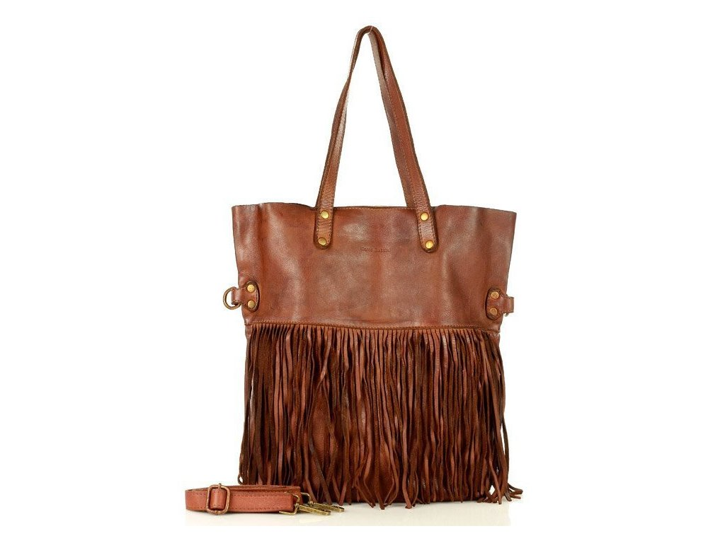 Italská MARCO MAZZINI shopper kabelka s třásněmi v boho stylu z pravé kůže, ručně šitá; mandlově hnědá