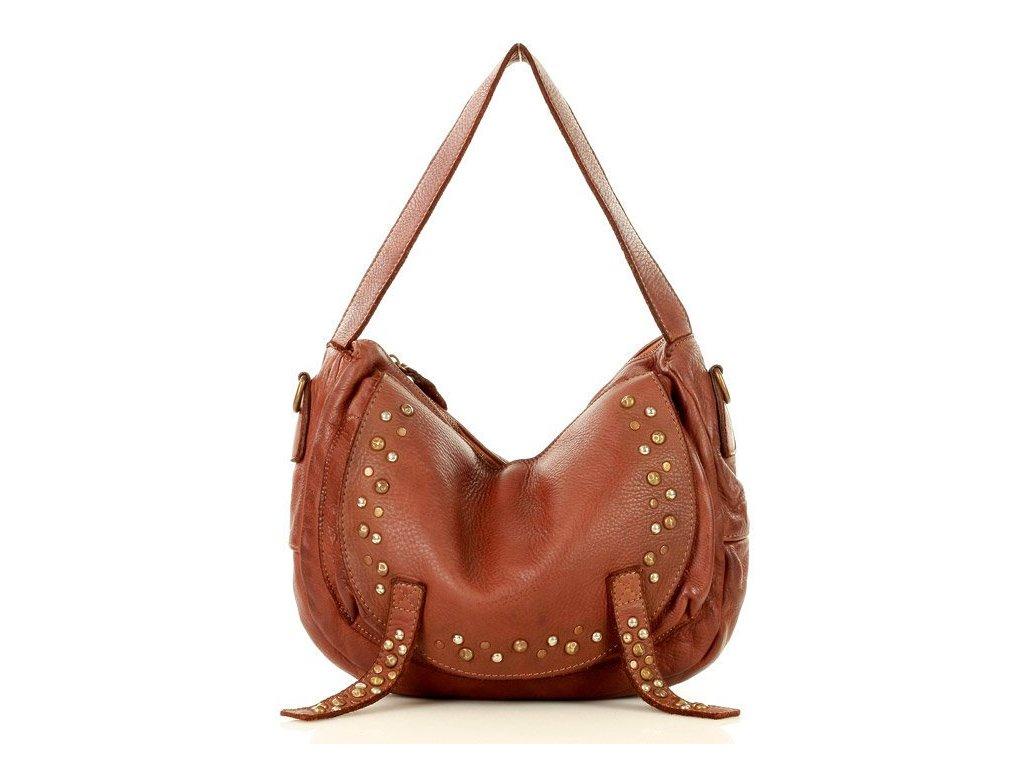 Městská kabelka MAZZINI ručně šitá z pravé kůže, s kamínky; karamel