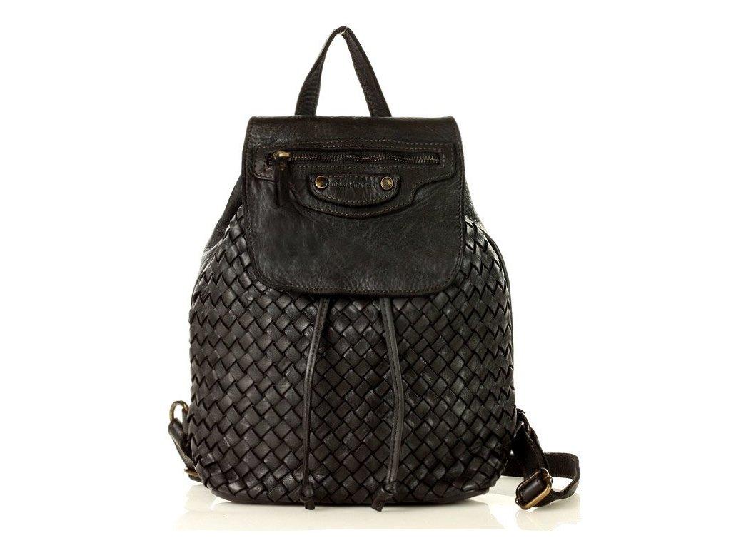 Městský batoh MAZZINI z pravé kůže ručně šitý; černý
