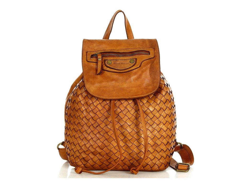 Městský batoh MAZZINI z pravé kůže ručně šitý; karamel