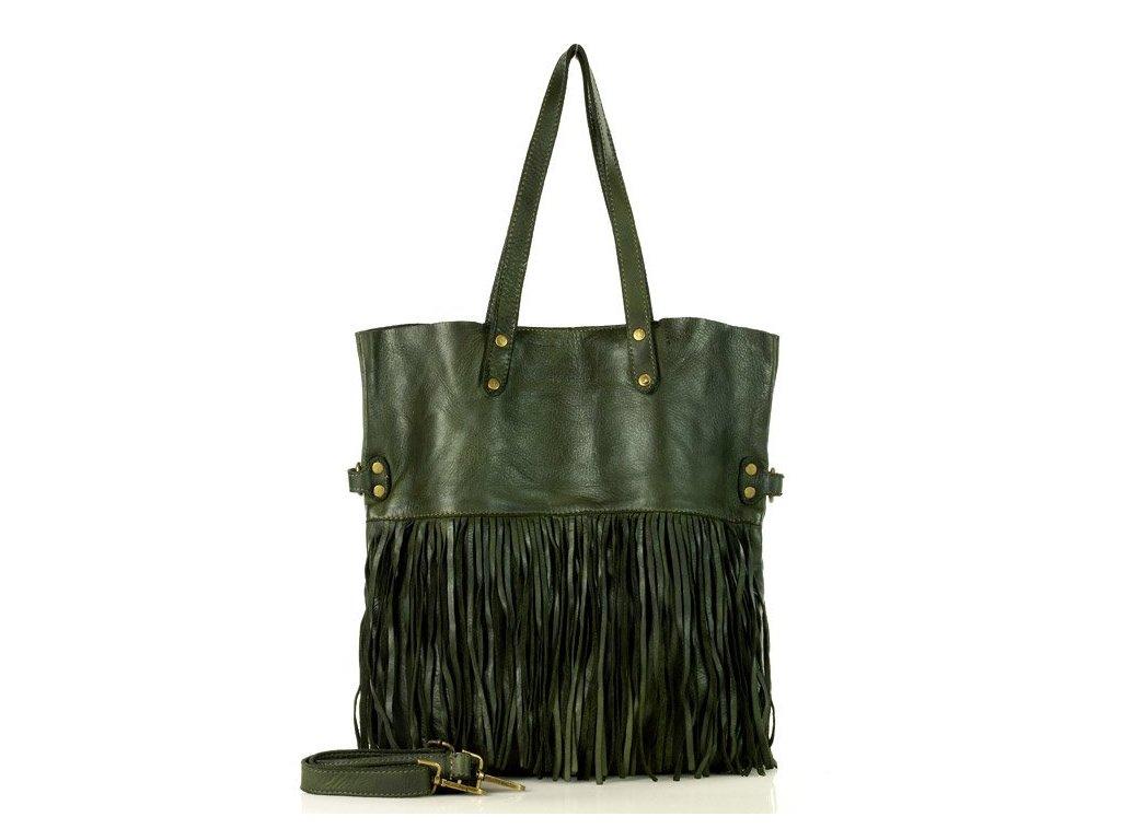 Italská MARCO MAZZINI shopper kabelka s třásněmi v boho stylu z pravé kůže, ručně šitá; military zelená