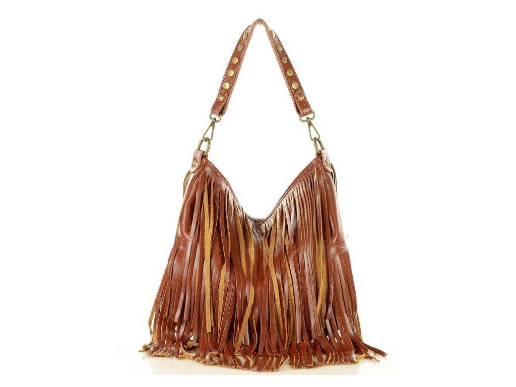 Kožená kabelka Marco Mazzini boho styl s třásněmi; karamel