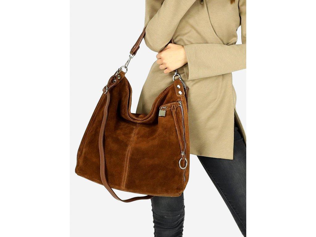 Italská nadčasová stylová kabelka Renella kožená; mandlový nubuk