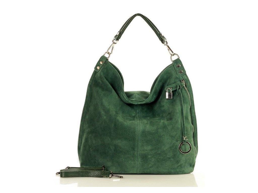 Italská nadčasová stylová kabelka Renella kožená; zelený nubuk