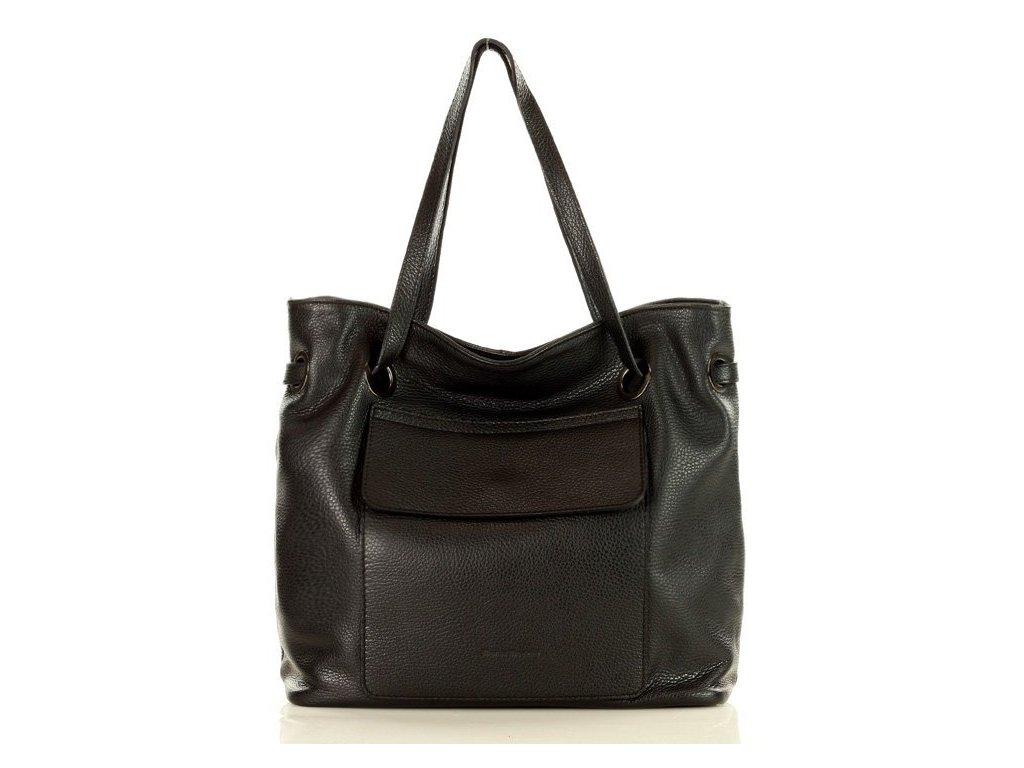 MARCO MAZZINI italská kožená kabelka SACCO; černá