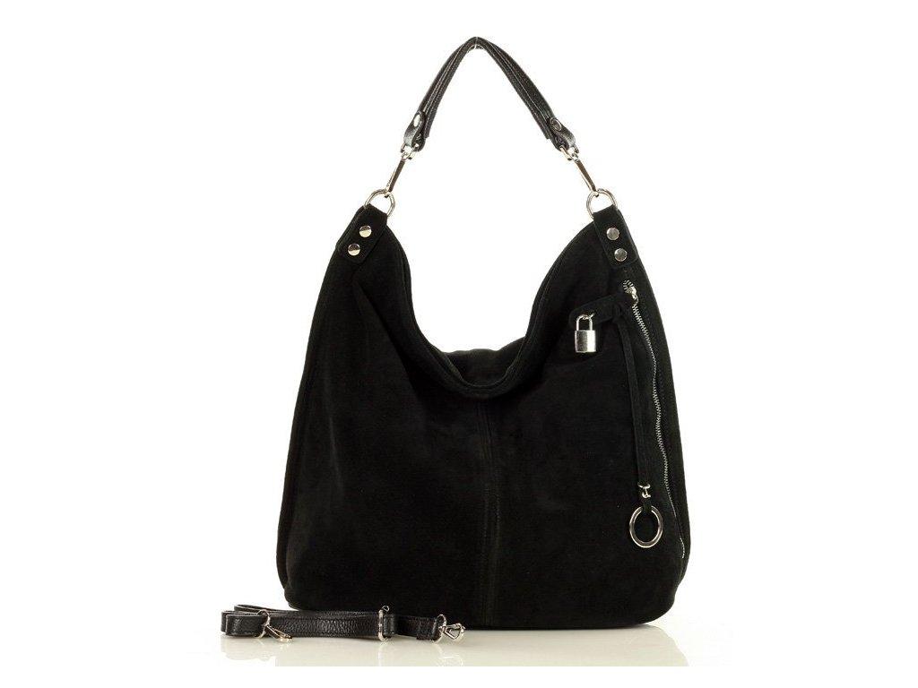 Italská nadčasová stylová kabelka Renella kožená; černý nubuk