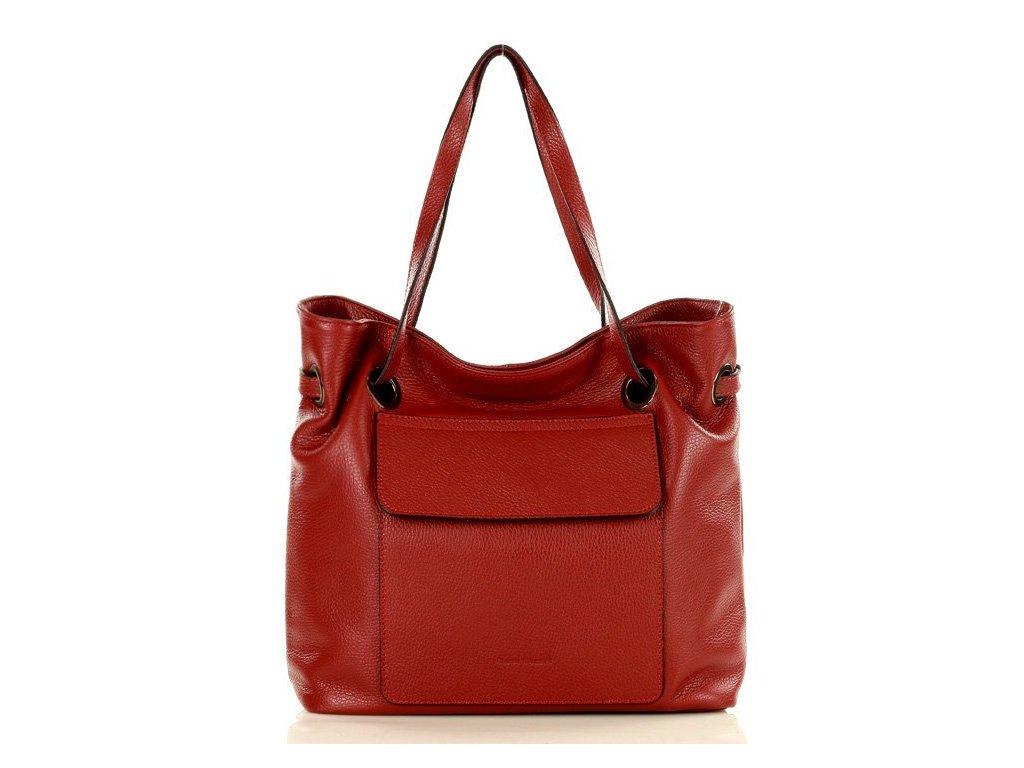 MARCO MAZZINI italská kožená kabelka SACCO; červená