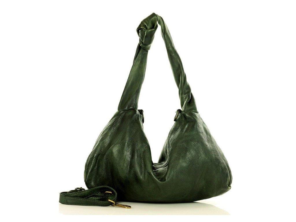 Ručně šitá italská uzlová kabelka MAZZINI kožená; zelená
