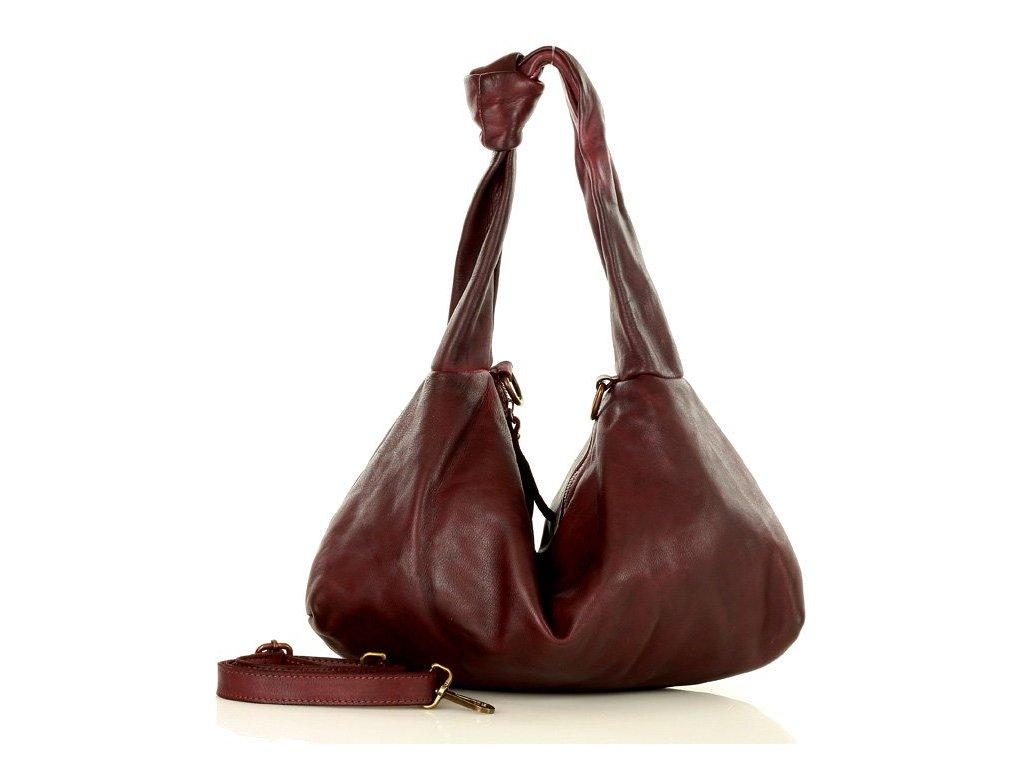 Ručně šitá italská uzlová kabelka MAZZINI kožená; vínová