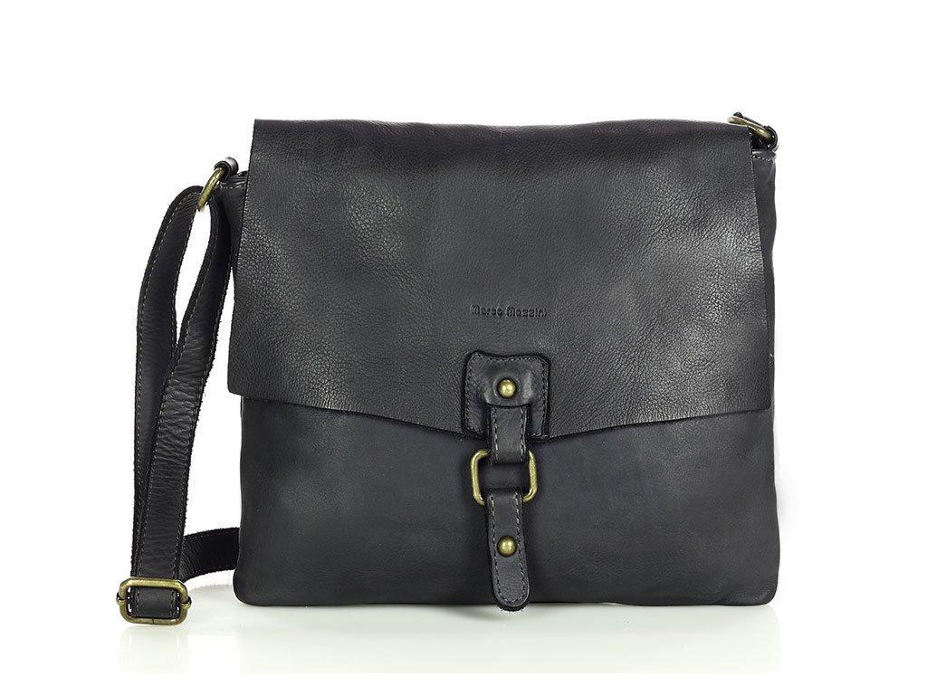 Městská kožená kabelka MARCO MAZZINI vintage; černá