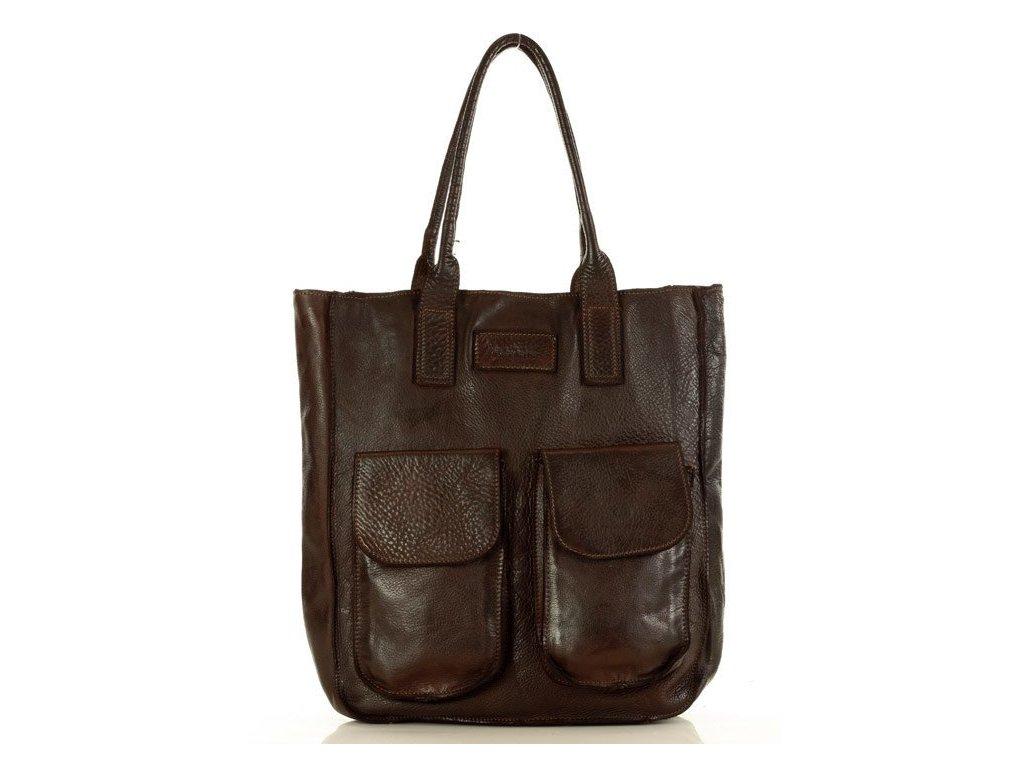 Kožená nákupní taška MARCO MAZZINI s kapsami; tmavě hnědá