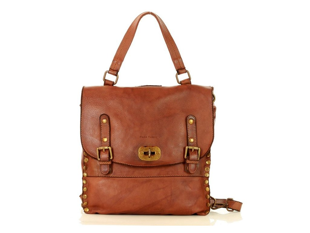 Kabelka a batoh 2v1 MARCO MAZZINI ručně vyrobená z pravé kůže; karamel