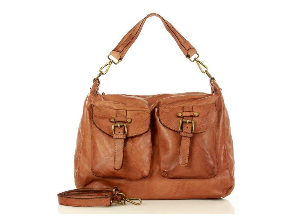 Funkční kožená kabelka MARCO MAZZINI s kapsami vintage; hnědá