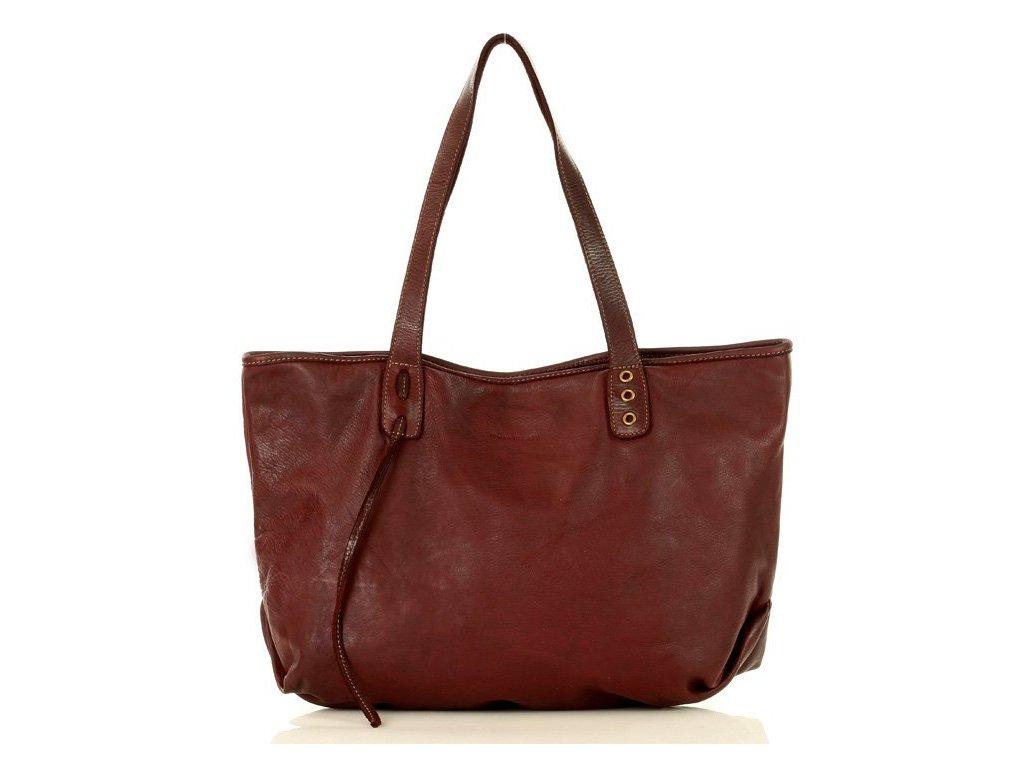 Městská nákupní taška z pravé kůže MARCO MAZZINI; bordó
