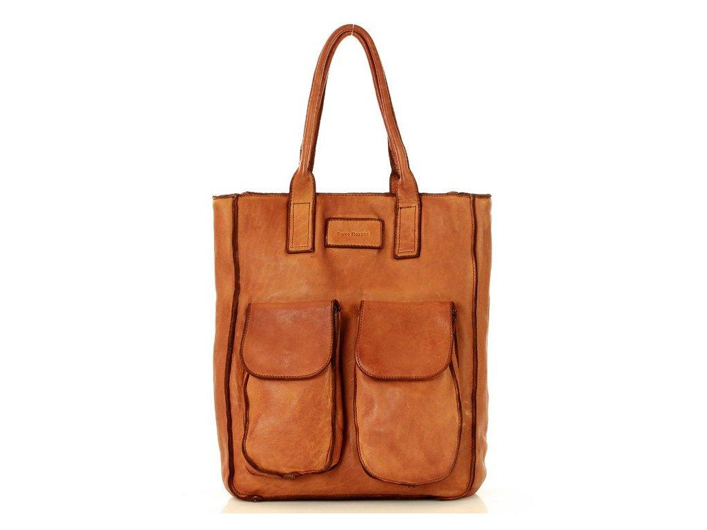 Kožená nákupní taška MARCO MAZZINI s kapsami; karamel
