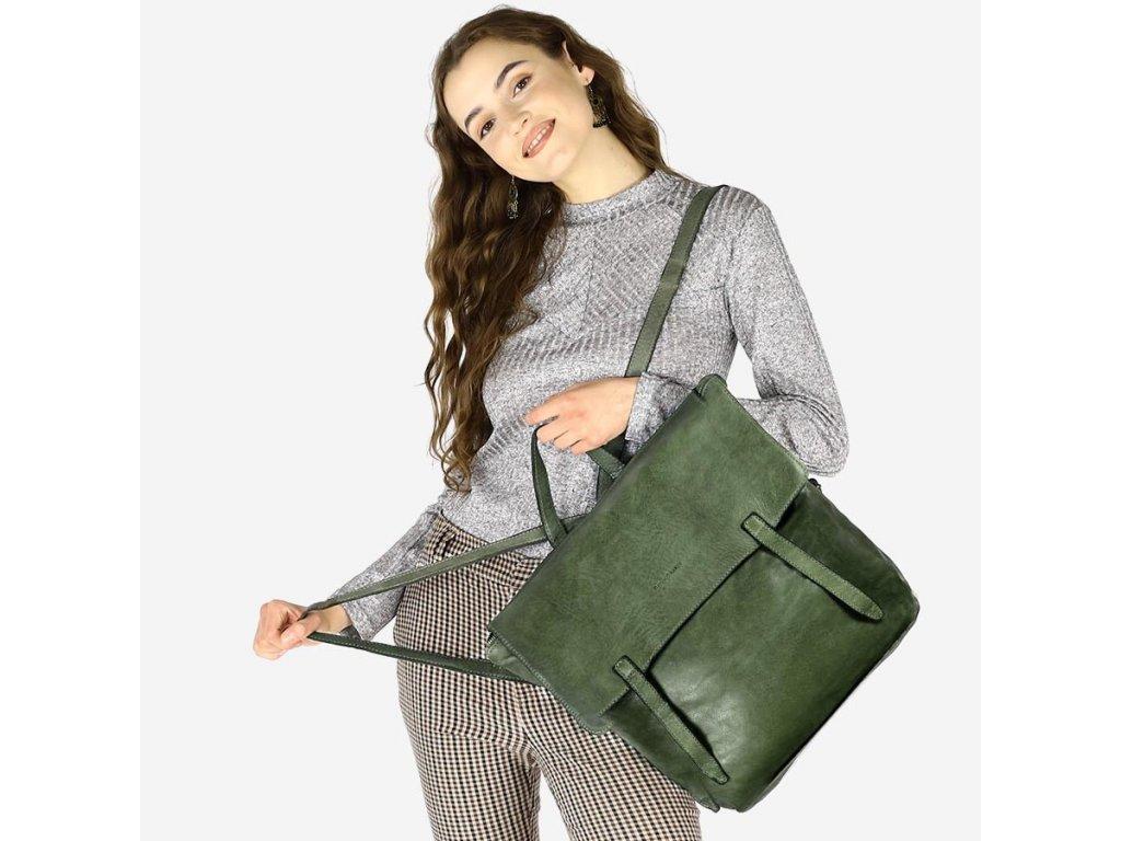 Italský batoh Mazzini kolekce Indiana Jones pravá kůže; zelená