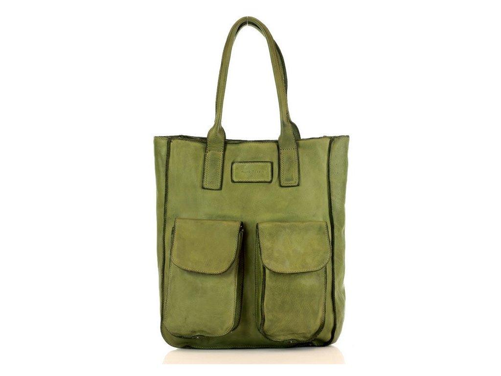 Kožená nákupní taška MARCO MAZZINI s kapsami; zelená