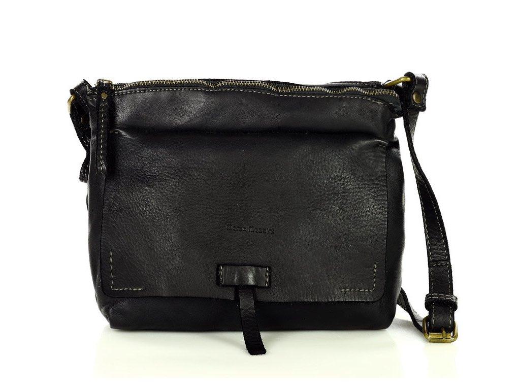 Kožená kabelka messenger MAZZINI Retro; černá