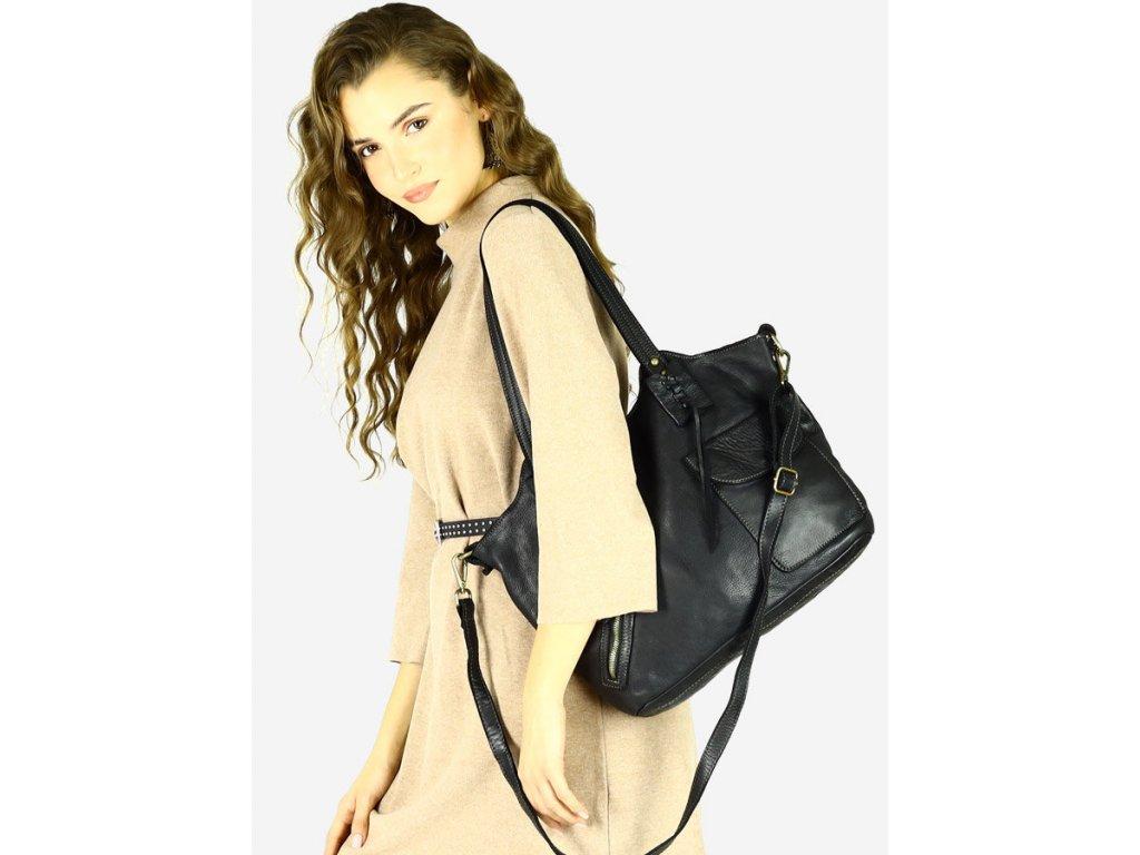 Nákupní taška MARCO MAZZINI v boho stylu, pravá kůže; černá