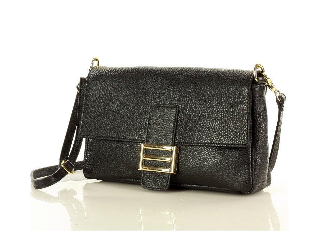 Elegantní kožená dámská kabelka MAZZINI; černá