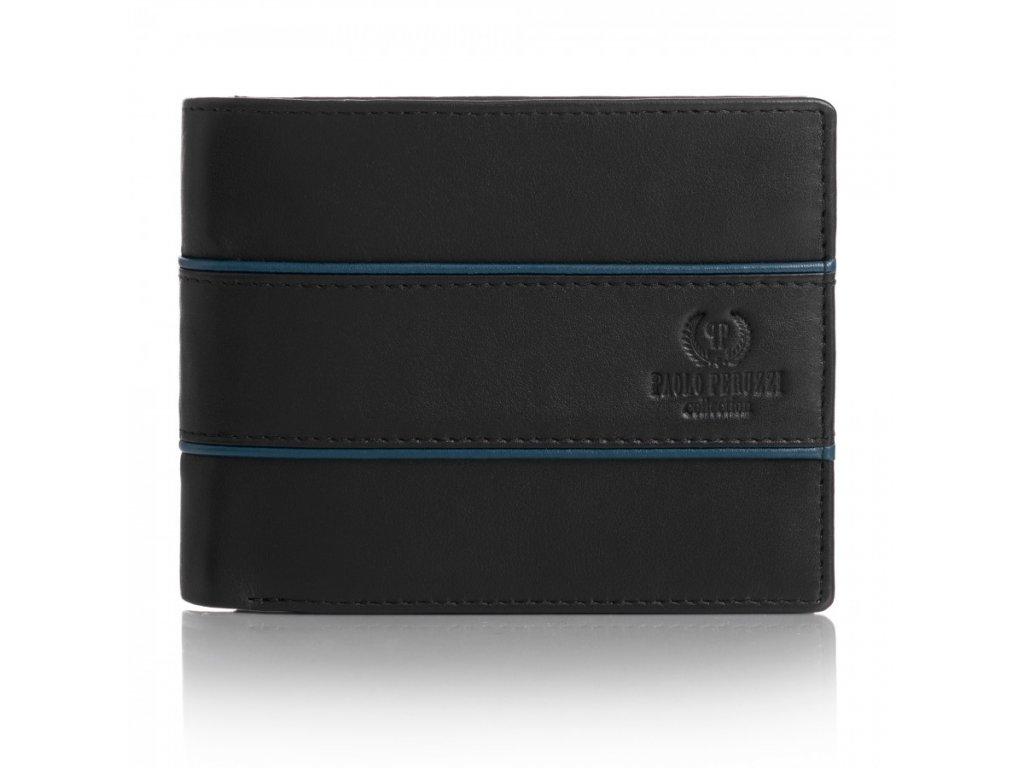 Pánská kožená peněženka PAOLO PERUZZI s ochranou RFID; černá