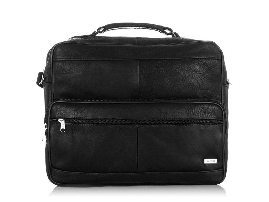 Italská kožená taška PAOLO PERUZZI pro každodenní použití; černá