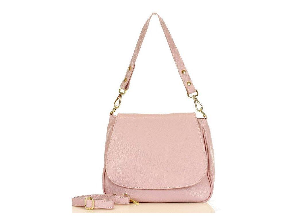 Marco Mazzini elegantní ramenní sedlová kožená taška s klopou; růžová