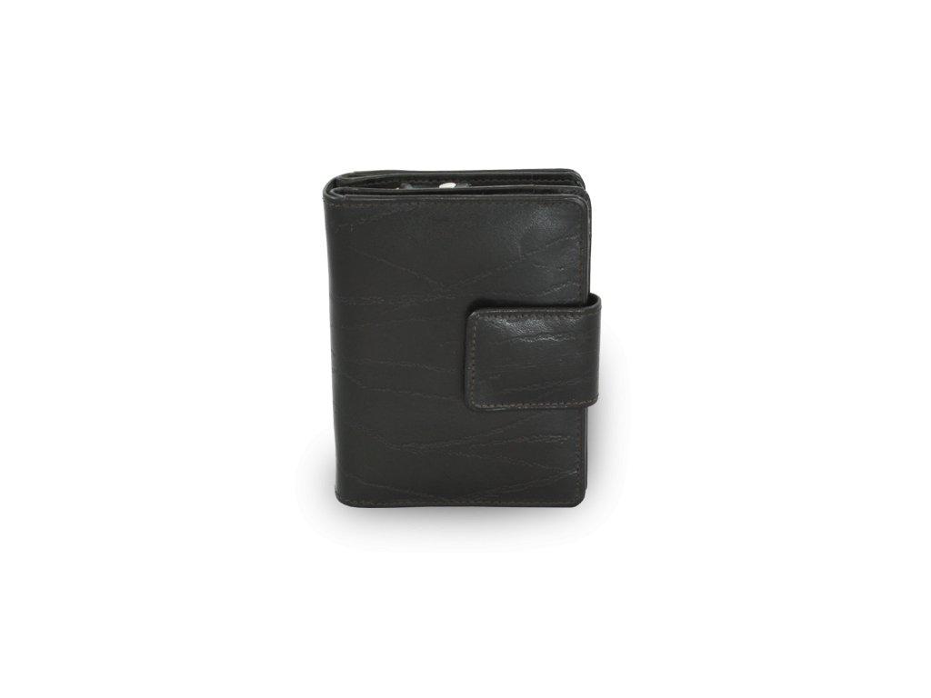 Dámská kožená peněženka se zápinkou - česká výroba; černá