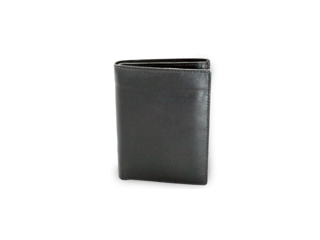 Pánská kožená peněženka s vloženou dokladovkou - česká výroba; černá