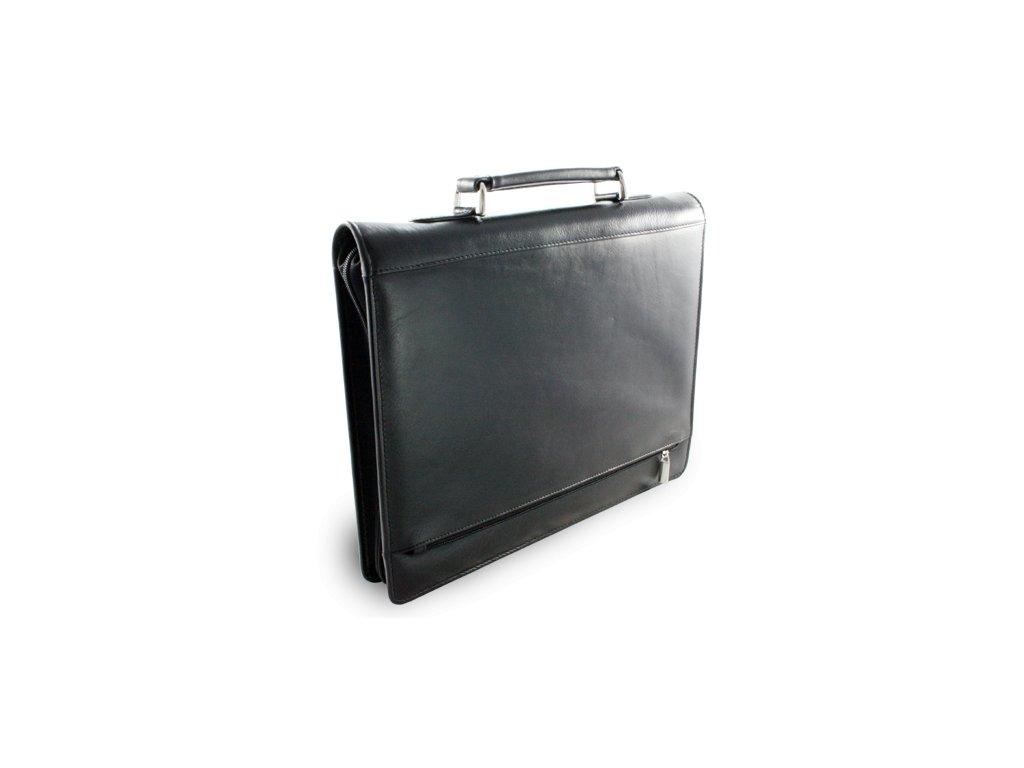 Luxusní kožená zipová spisovka A4 - česká výroba; černá