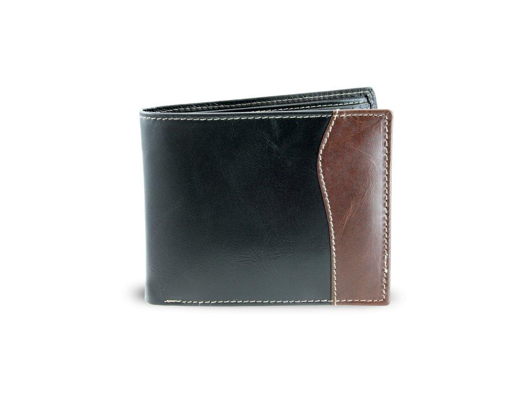 Pánská kožená peněženka - česká výroba; černá a hnědá