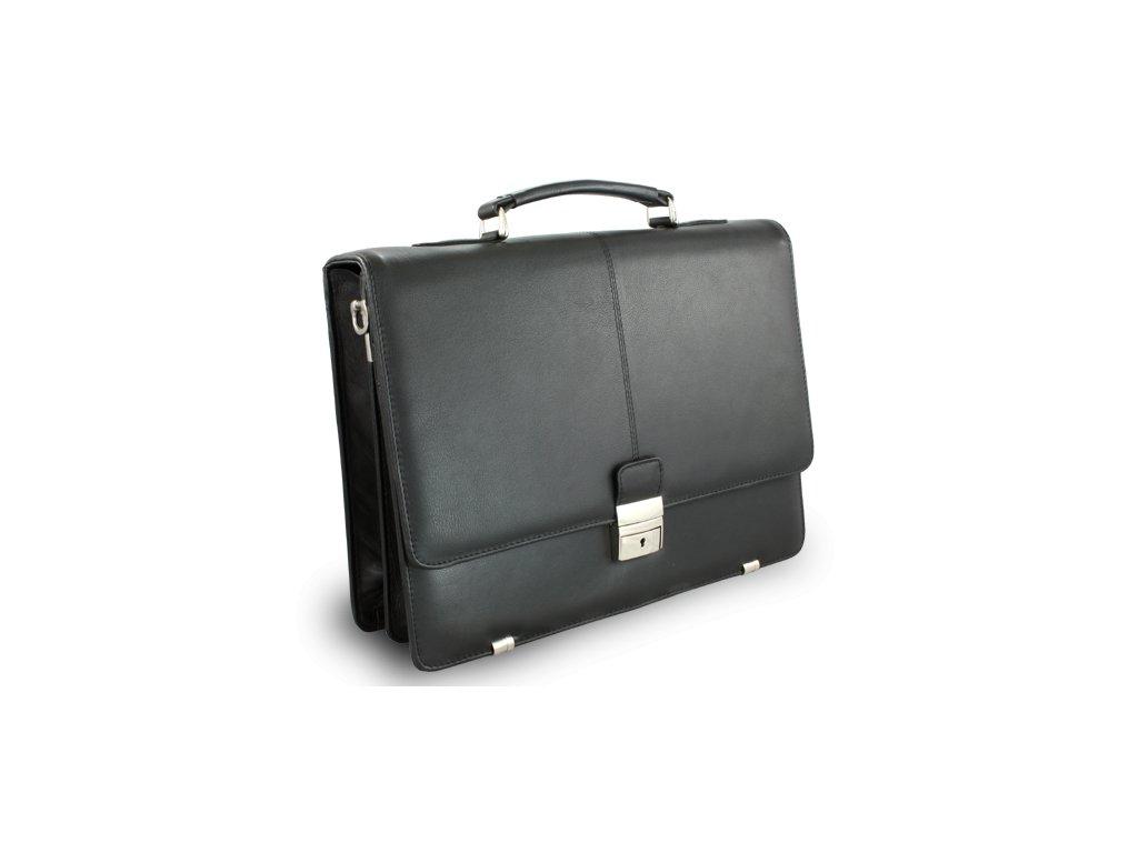 Černá kožená aktovka se dvěma velkými vnitřními přihrádkami - česká výroba; černá