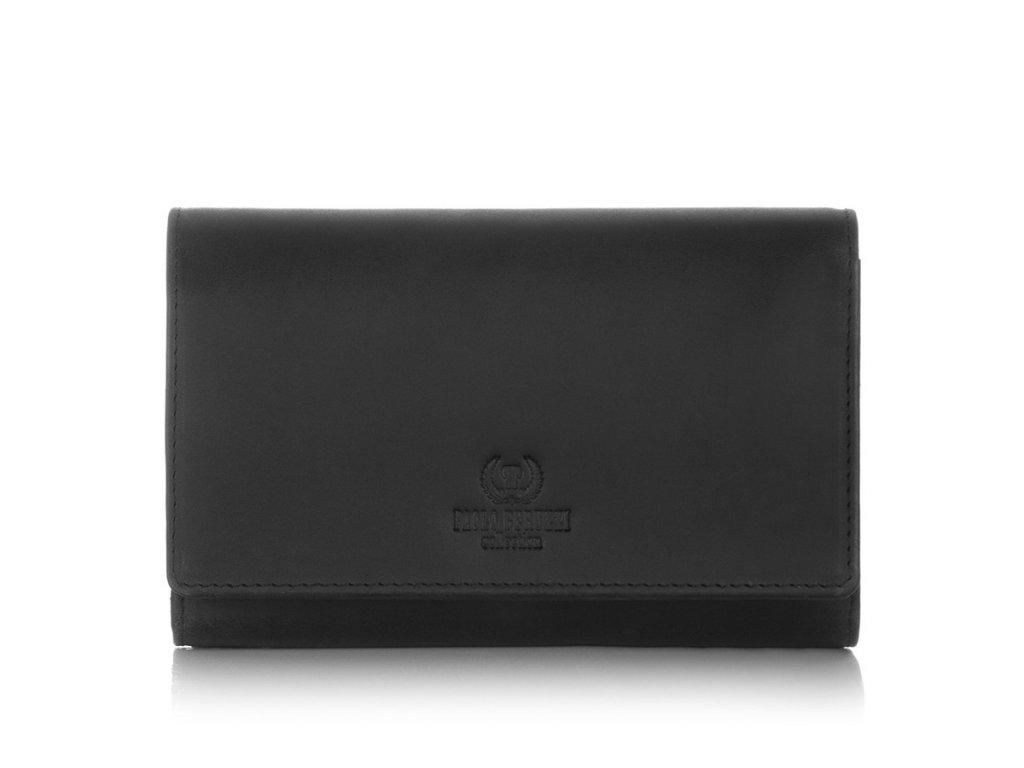 Velká kožená dámská peněženka Paolo Peruzzi; černá