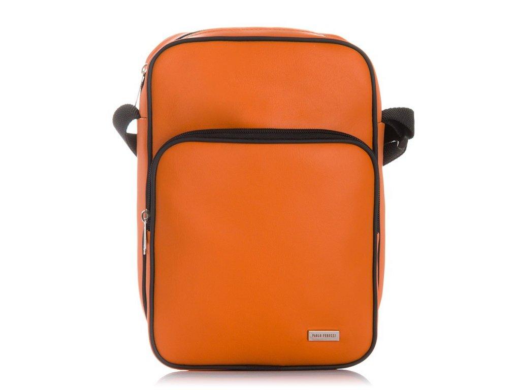 Voděodolné pánské crossbody z eko kůže PERUZZI; oranžová SKL