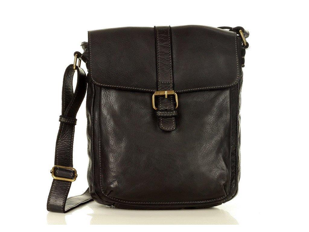 Ramenní italská taška Mazzini z pravé telecí kůže; černá