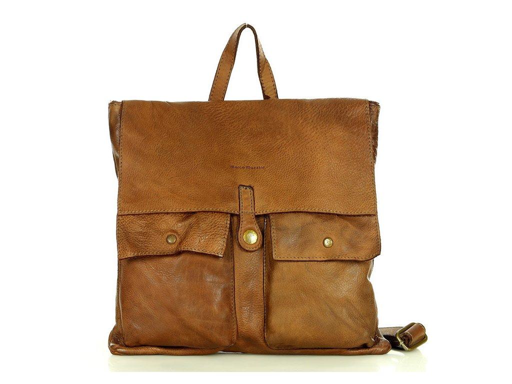 Kožený batoh MARCO MAZZINI styl safari; hnědá