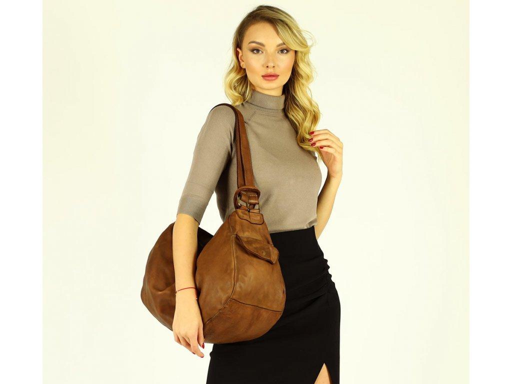 Miejska torebka worek z funckją plecaka genuine leather vintage - MARCO MAZZINI brąz