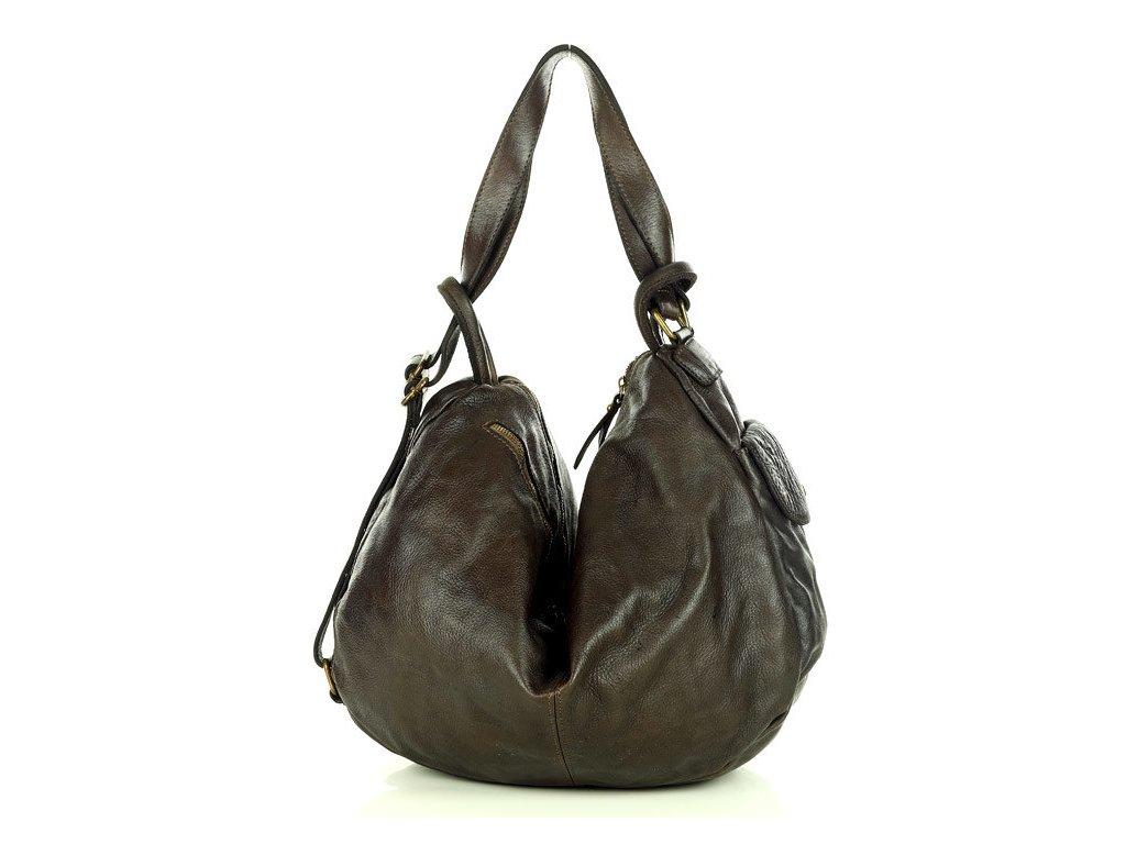 Miejska torebka worek z funckją plecaka genuine leather vintage - MARCO MAZZINI brąz caffe