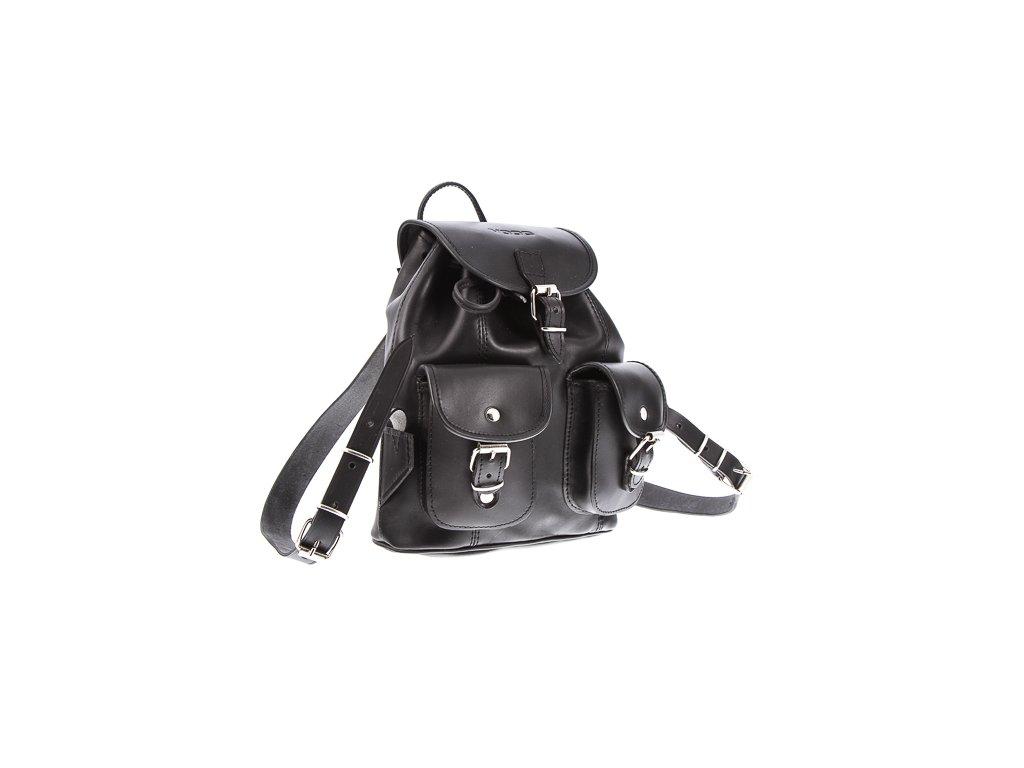Malý kožený batůžek VOOC vintage ručně šitý; černá