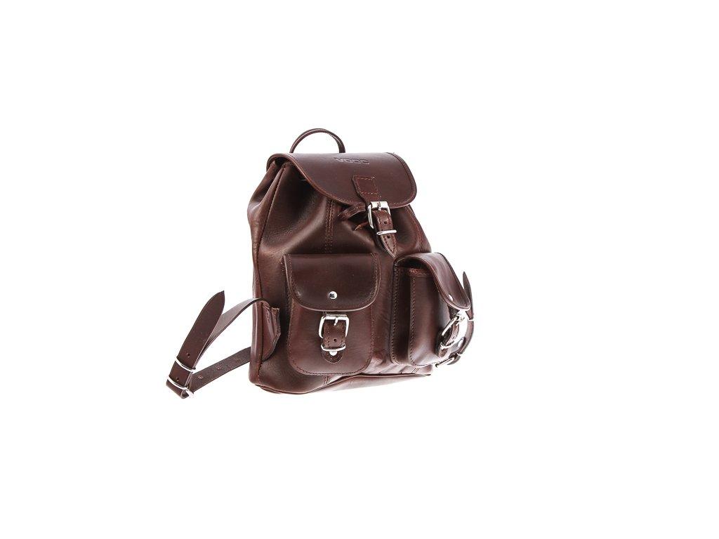 Malý kožený batůžek VOOC vintage ručně šitý; hnědá