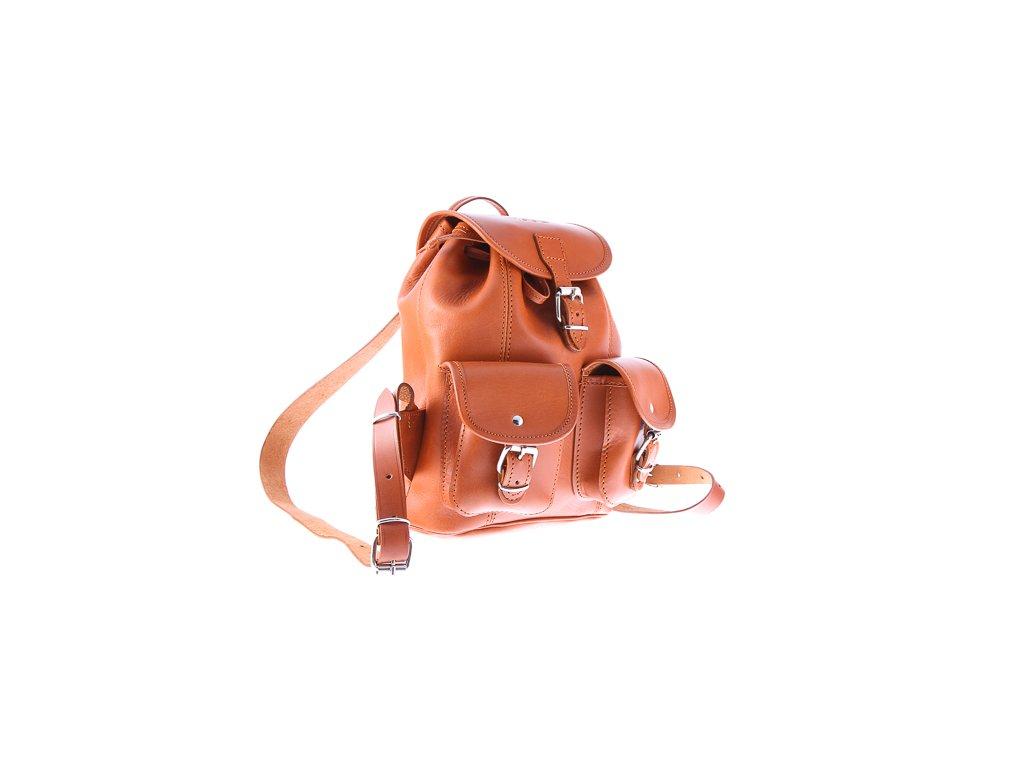 Malý kožený batůžek VOOC vintage ručně šitý; koňak