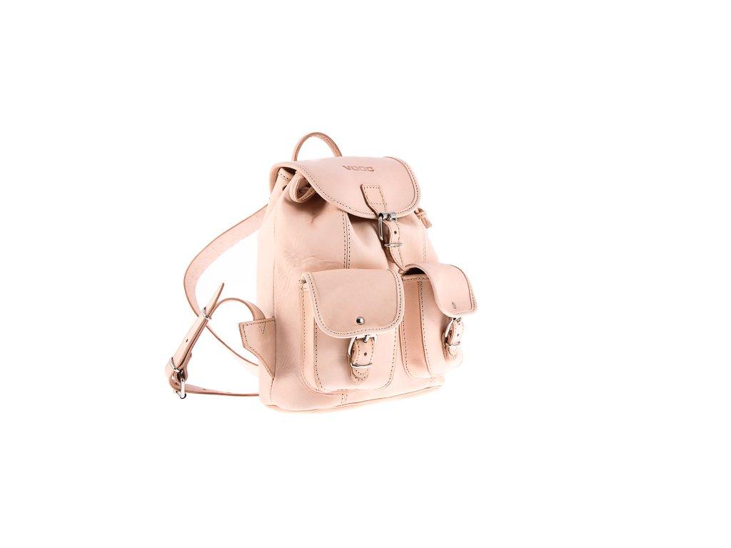 Malý kožený batůžek VOOC vintage ručně šitý; béžová