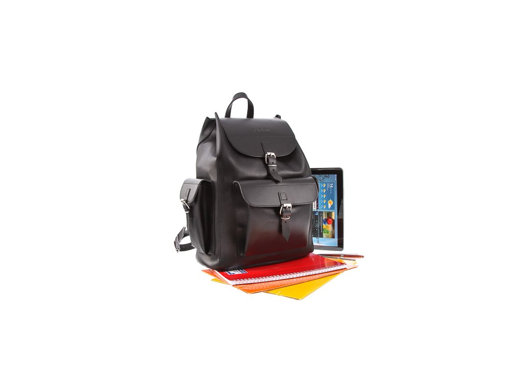 Velký vintage batoh z pravé kůže VOOC; černá