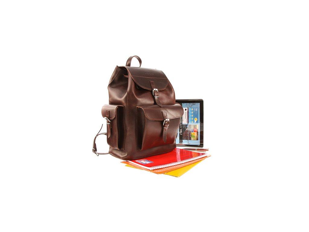 Velký vintage batoh z pravé kůže VOOC; hnědá