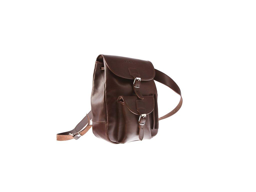 Módní batoh ve vintage stylu, ručně šitý; hnědá